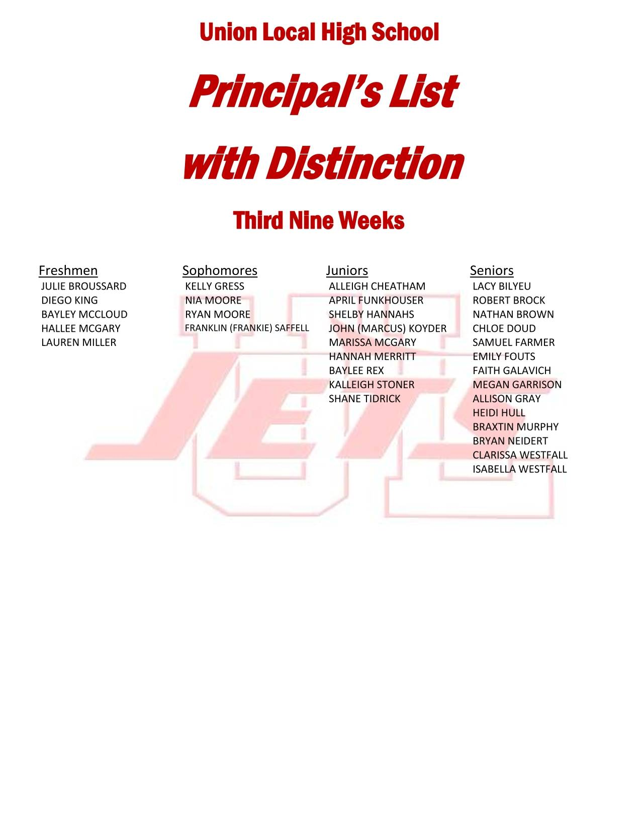 Principal's List with Distinction Third Nine Weeks