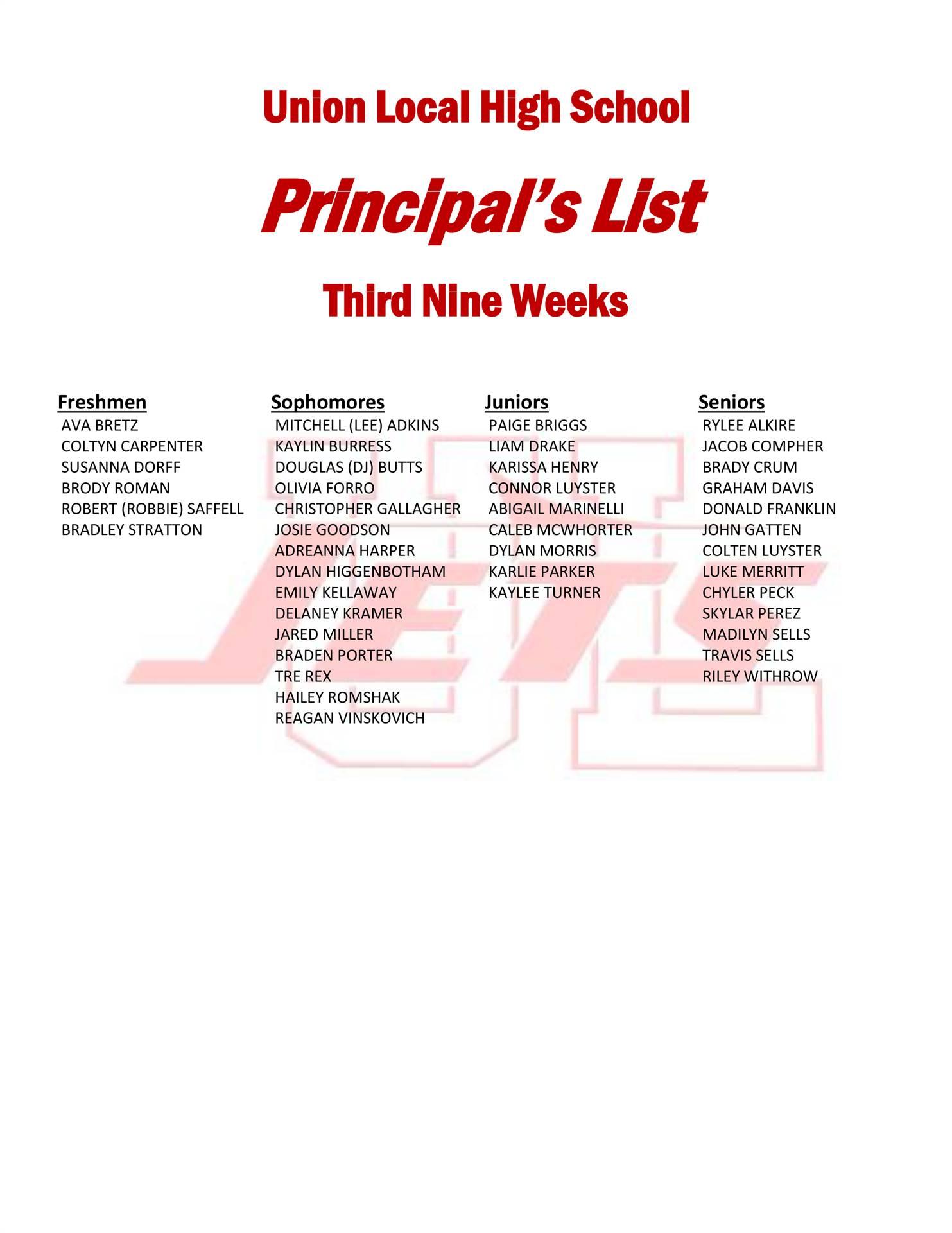 Principal's List Third Nine Weeks