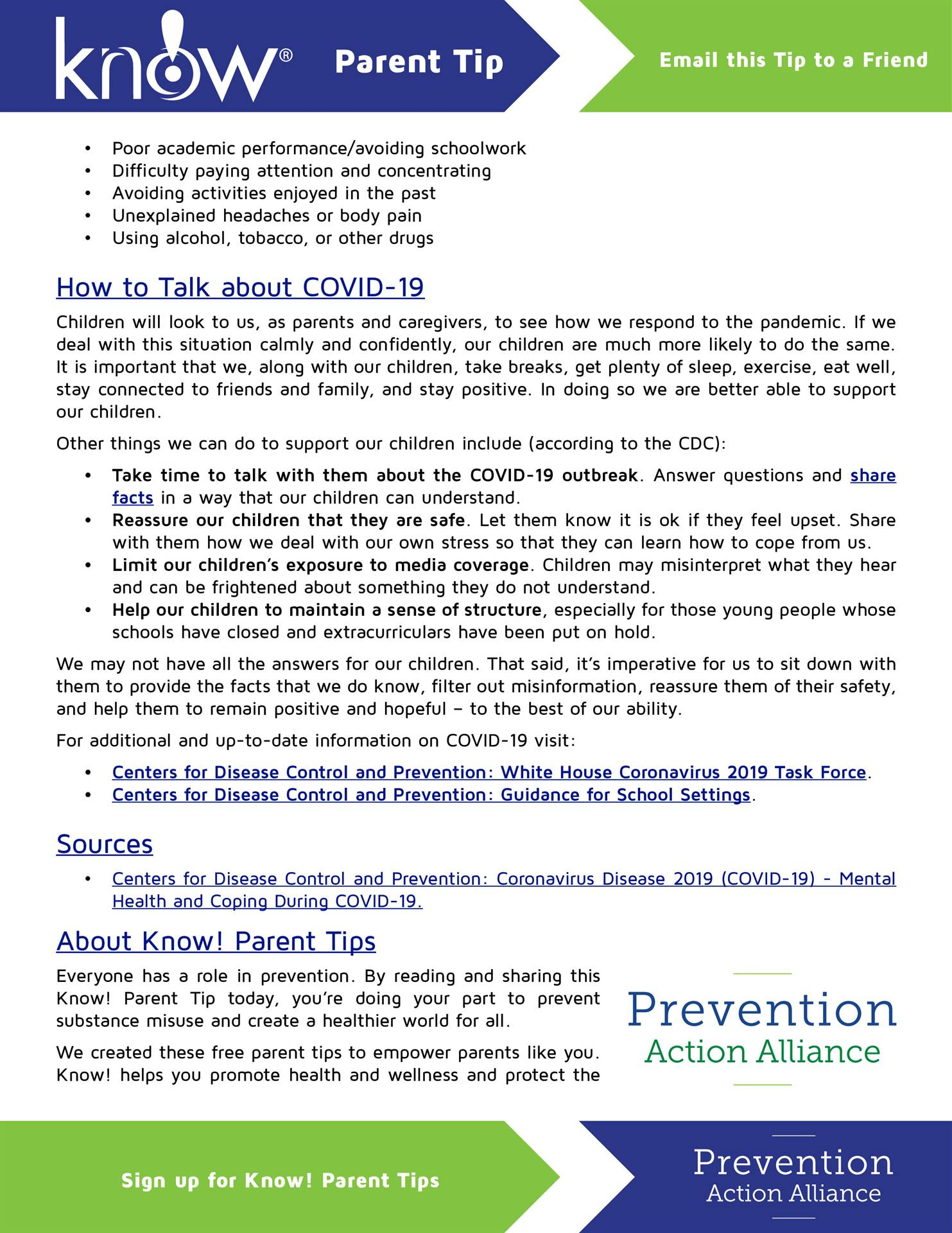 Know! To Reassure and Support Children During the COVID-19 Crisis